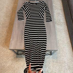 Black/white midi dress